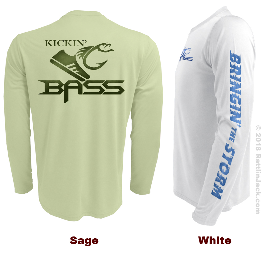Custom UPF Fishing Club Shirts Kickin Bass Sage White