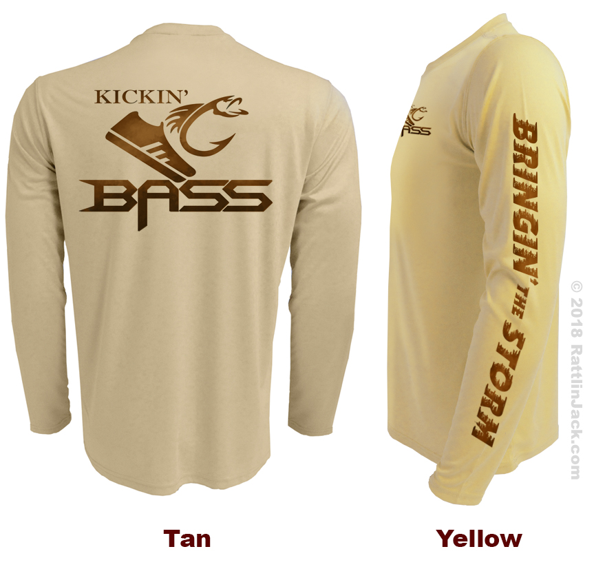 Custom UPF Fishing Club Shirts Kickin Bass Tan Yellow