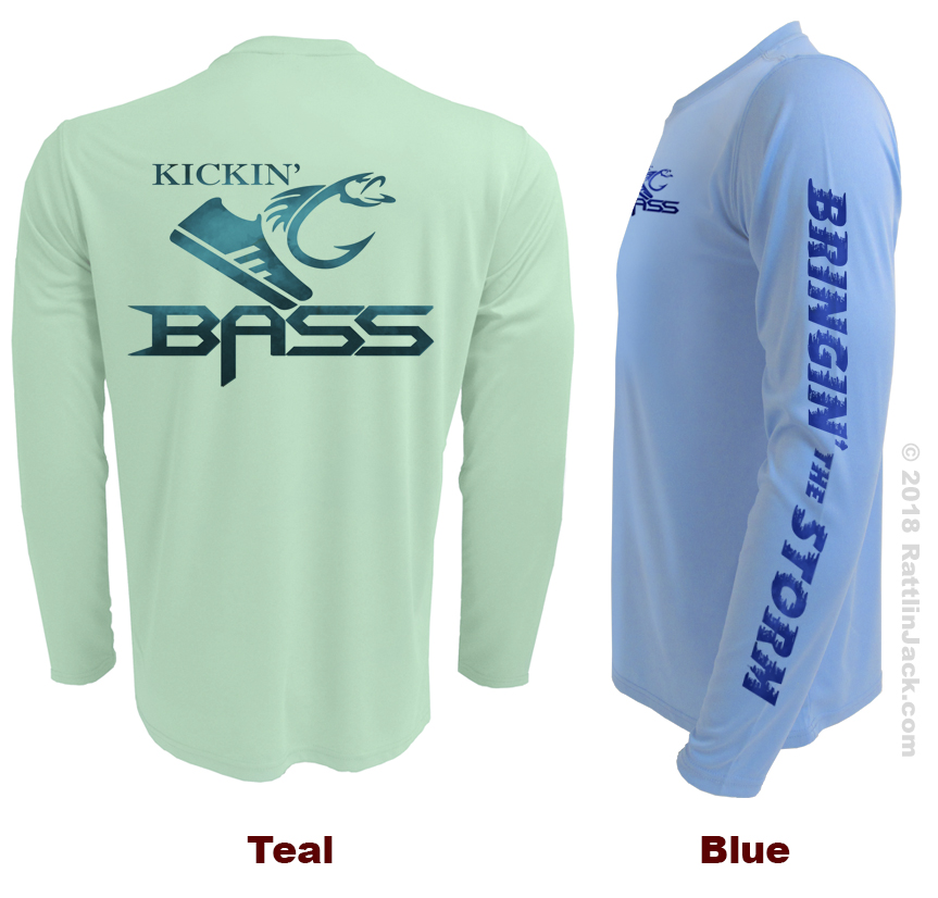 Custom UPF Fishing Club Shirts Kickin Bass Teal Blue