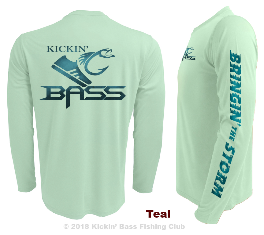 Custom-upf-fishing-shirts-kickin-bass-teal