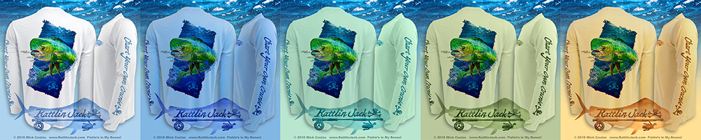 Rattlin Jack Men's Sun Protection Fishing Shirt Deep Water Dorado UPF 50+