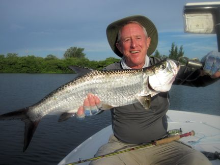 a caption-September is usually a great month for juvenile tarpon in creeks and canals. Marshall Dinerman, from Atlanta, caught and released this one on a Grassett Flats Bunny fly while fishing with Capt. Rick Grassett in a previous September.