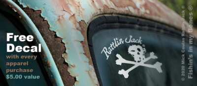 Free Rattlin Jack skull crossbones 5in window decal sticker with every apparel order - 5.00 retail value.