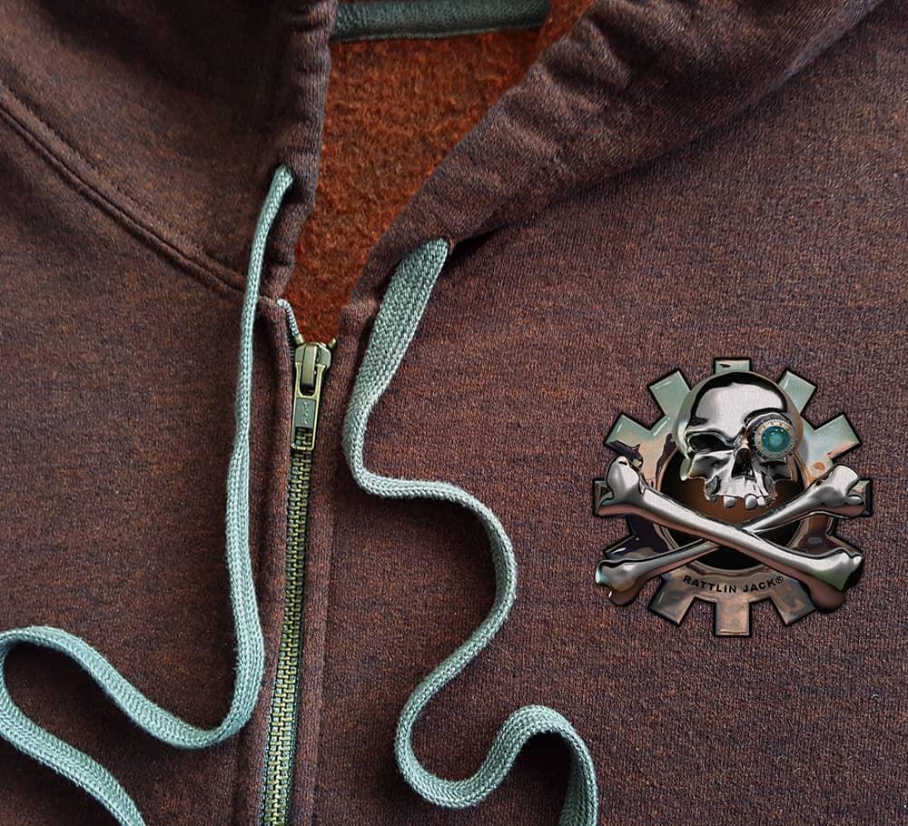 Rattlin-Jack-Mens-Hooded-Fleece-Sweatshirt-Zip-Hoodie-Russet